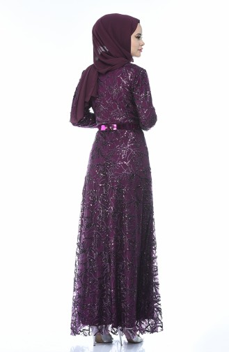 Purple Islamic Clothing Evening Dress 3806-04
