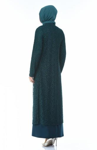 Büyük Beden Takım Görünümlü Abiye Elbise 1062-08 Zümrüt Yeşil