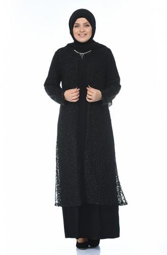 Büyük Beden Takım Görünümlü Abiye Elbise 1066-01 Siyah