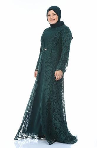 فساتين سهرة بتصميم اسلامي أخضر زمردي 1297-03