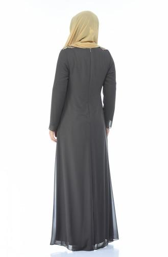 Rauchgrau Hijab-Abendkleider 1308-03