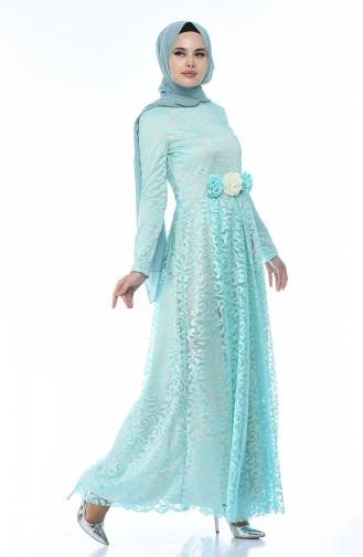 Dantelli Abiye Elbise 5037-04 Mint Yeşili