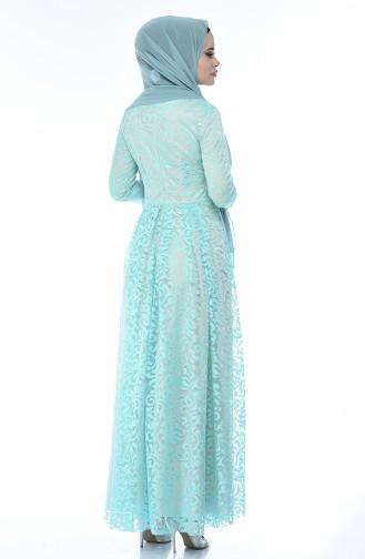 Mint green Islamic Clothing Evening Dress 5037-04