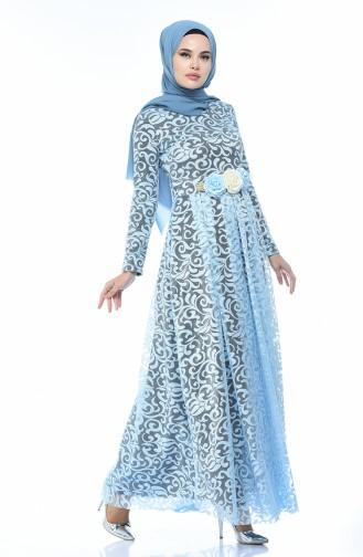 Robe de Soirée a Dentelle 5037-07 Bleu Bébé 5037-07