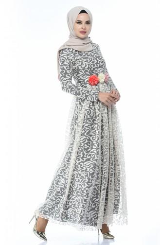 Beige Hijab-Abendkleider 5037-08