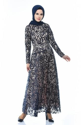 Dantel Kaplama Abiye Elbise 5038-03 Lacivert