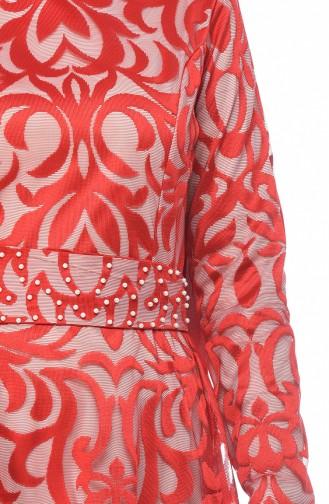 فساتين سهرة بتصميم اسلامي أحمر 5038-04