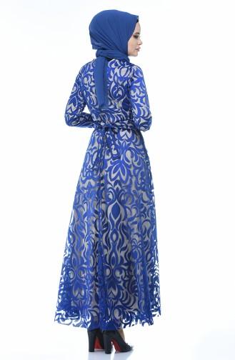 فساتين سهرة بتصميم اسلامي أزرق 5038-05