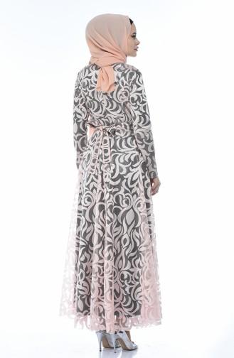 Dantel Kaplama Abiye Elbise 5038-06 Pudra