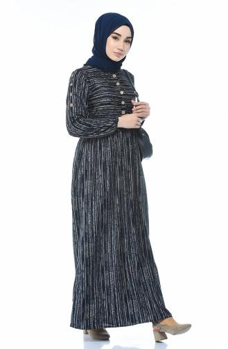 Geknöpftes Kleid 1205-02 Dunkelblau 1205-02
