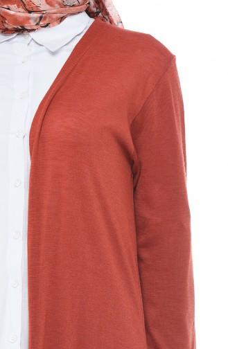 Lange Strickjacke 7520-10 Ziegelrot 7520-10