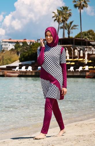 Maillot de Bain Hijab 1940-01 Noir Plum 1940-01