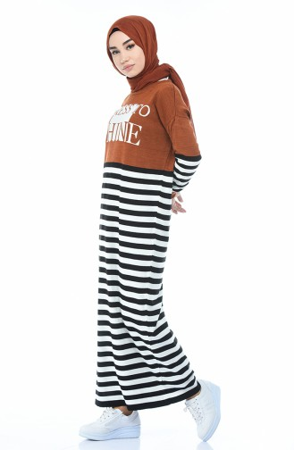Robe Tricot a Rayures 8060-02 Tabac 8060-02