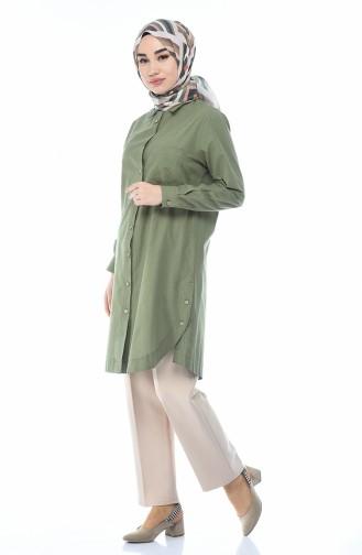 Tunique a Boutons 5015-10 Vert Khaki 5015-10