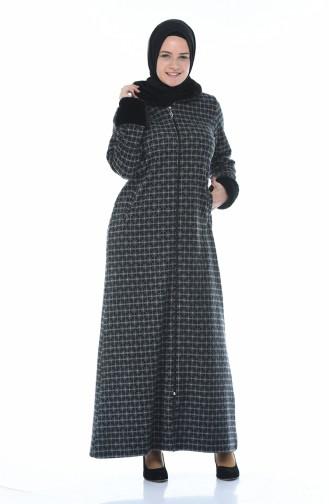 Furry Abaya with Zipper Gray 99219A-01