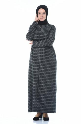Winterliches Abaya mit Reissverschluss 99220A-01 Grau 99220A-01