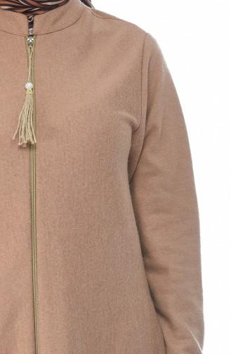 معطف طويل بقبعة بني فاتح 1048-01