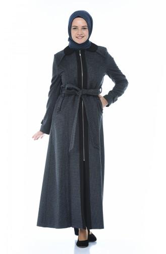 معطف فوقي مزين بحزام 0087-01 أسود 0087-01