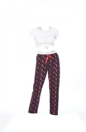 Bayan Pijama Alt 27130 Siyah Puanlı