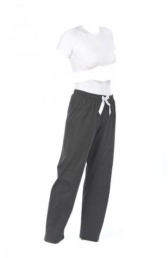 Bayan Pijama Alt 27134 Siyah Beyaz