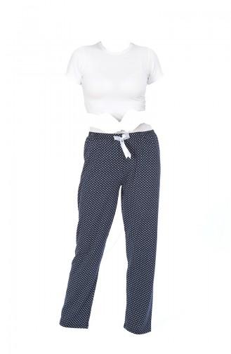 Bayan Pijama Alt 27135 Lacivert Beyaz