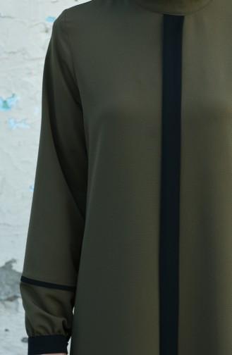 فستان عريض كاكي وأسود 8015-02
