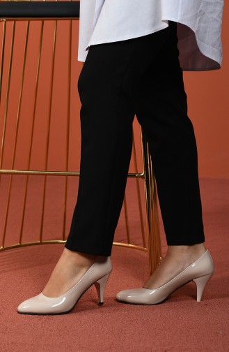 Damen dünne Stöckelschuhe 1092-06 Beige Lackleder 1092-06