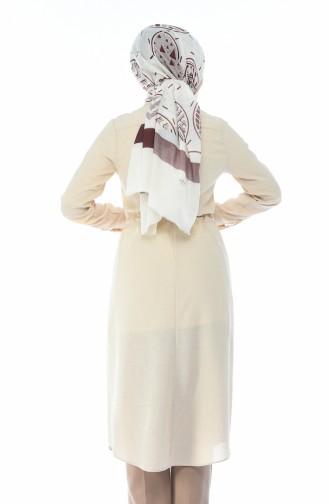 Longue Tunique Taille Froncée 1182-03 Beige 1182-03