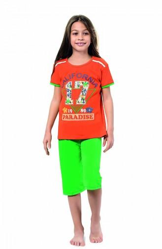 Kız Çocuk Kapri Pijama Takımı 4323 Turuncu