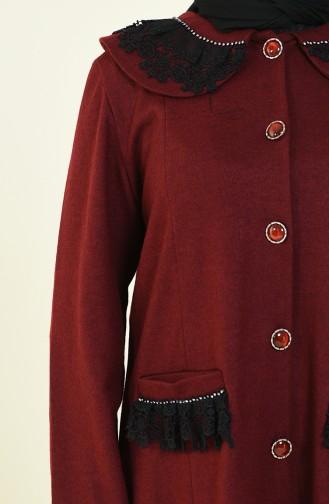 معطف طويل أحمر كلاريت 1538-03