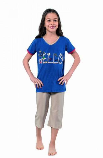 Kız Çocuk Kapri Pijama Takımı 4321 Saks