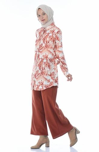 Pantalon Large Velours 0093-02 Brique 0093-02