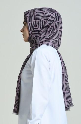 Elmina Gemusterter Schal 370-104 Dunkel Lila Shwarz 370-104