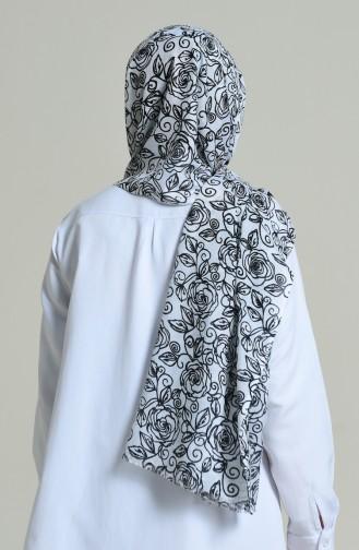 شال ألمينا منقوش أبيض وأسود 440-102