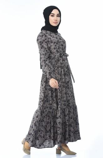 Gemustertes Gerafftes Kleid 0010-05 Braun Nerz 0010-05