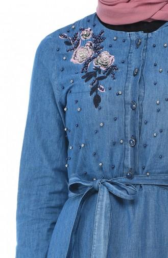 Jeansblau Hijap Kleider 93161-02