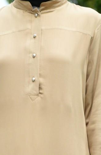 Buttoned Viscose Tunic Mink 8024-05