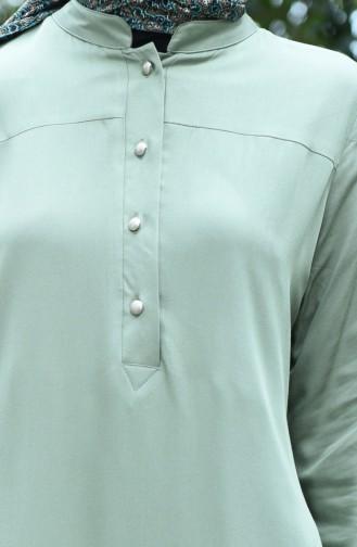 Buttoned Viscose Tunic Green 8024-06