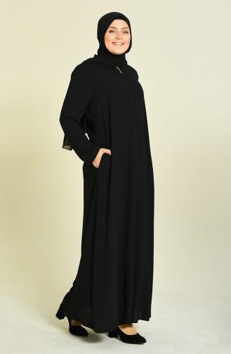 Big Size Zippered Crepe Abaya Black 0094-02