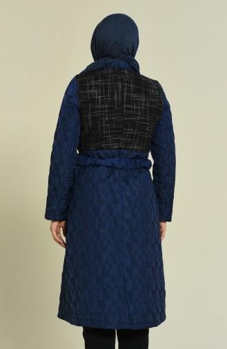 Navy Blue Long Coat 1517-01