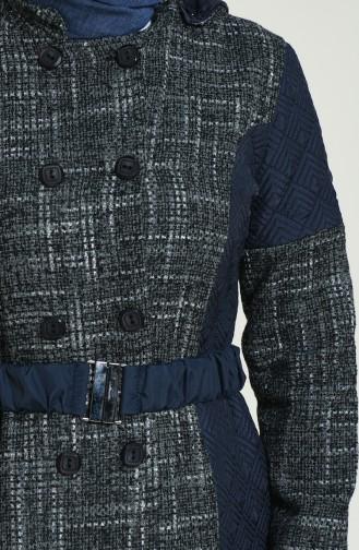 Navy Blue Long Coat 1524-01
