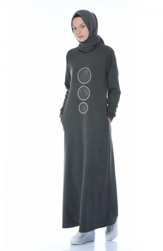 Anthracite Hijab Dress 4080-05
