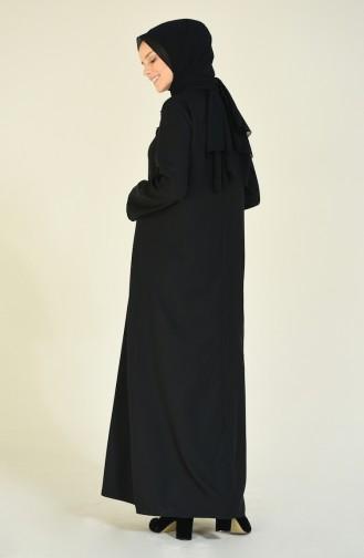 Aplikeli Fermuarlı Ferace 1966-01 Siyah