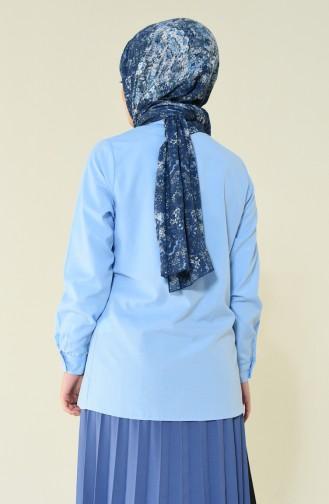 Schulhemd ohne Tasche  6385-02 Blau 6385-02