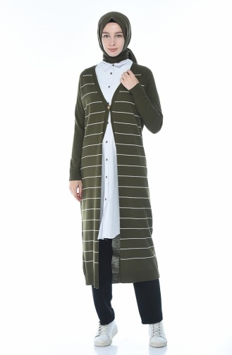 Long Gilet a Rayures 4161-01 Khaki 4161-01