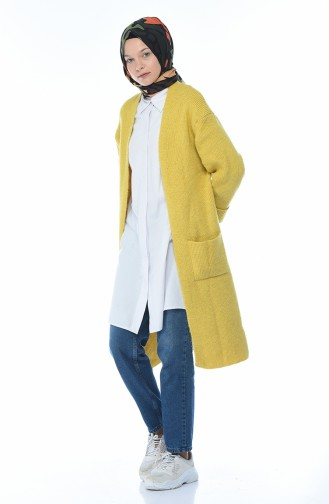 Long Gilet Tricot 7016-03 Moutarde 7016-03