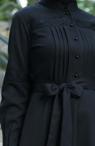 Pleated Belted Dress Black 8020-01