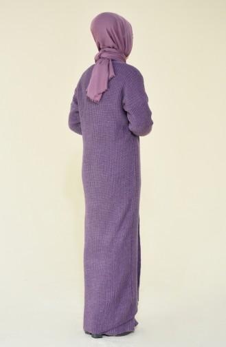 Triko Elbise Hırka İkili Takım 1915-02 Eflatun