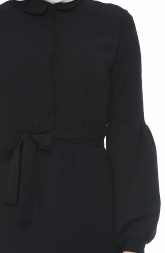 Düğmeli Kuşaklı Elbise 2699-01 Siyah