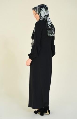 فستان بأكمام مطوية أسود 2089A-01